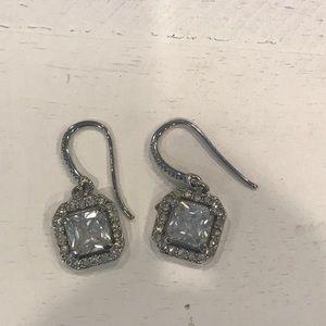Square Diamond Look Dangle Earrings